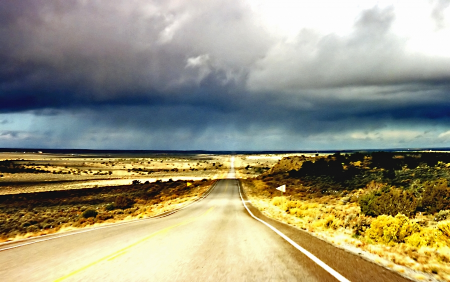 Rain in the desert, Arizona near the Black Mes by Phillip Capper