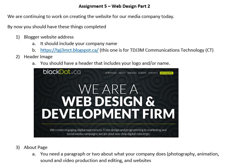 an assignment on web design